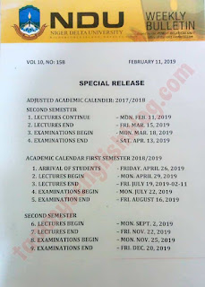 Niger Delta University: Academic Calendar for 2017/2018 and 2018/2019 Academic Sessions