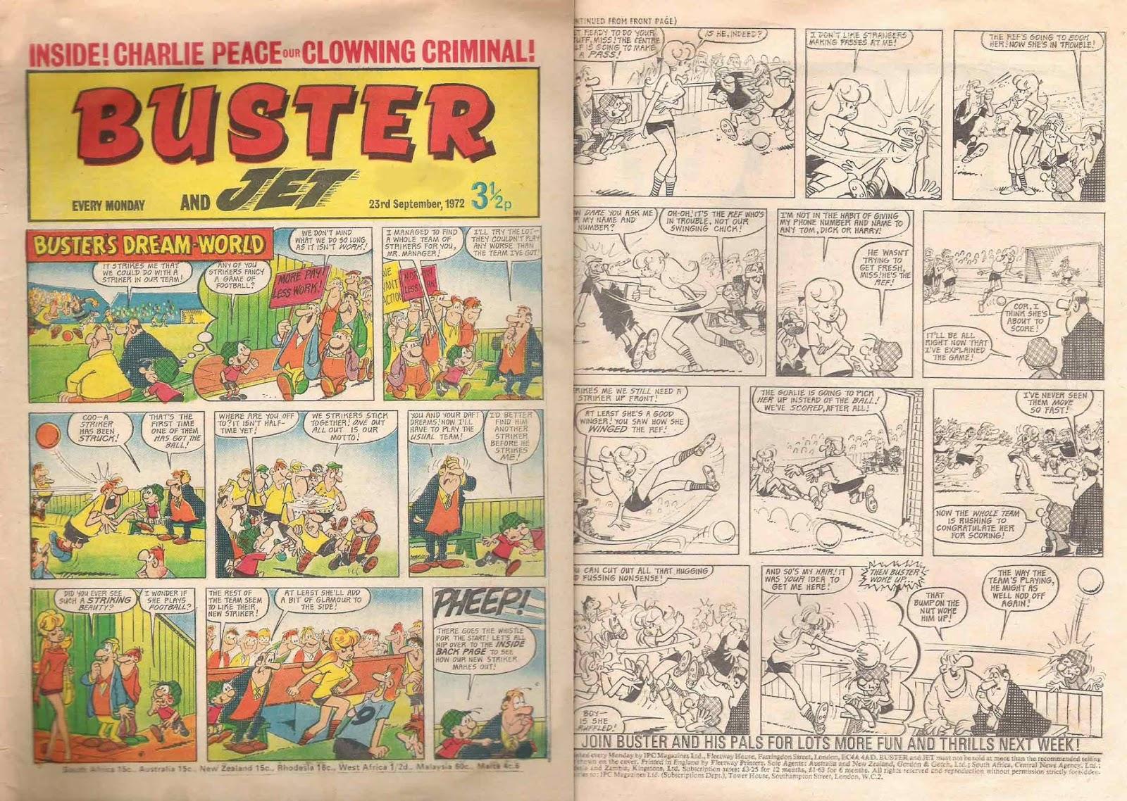 Doble página de Buster dibujada por Nadal 1972