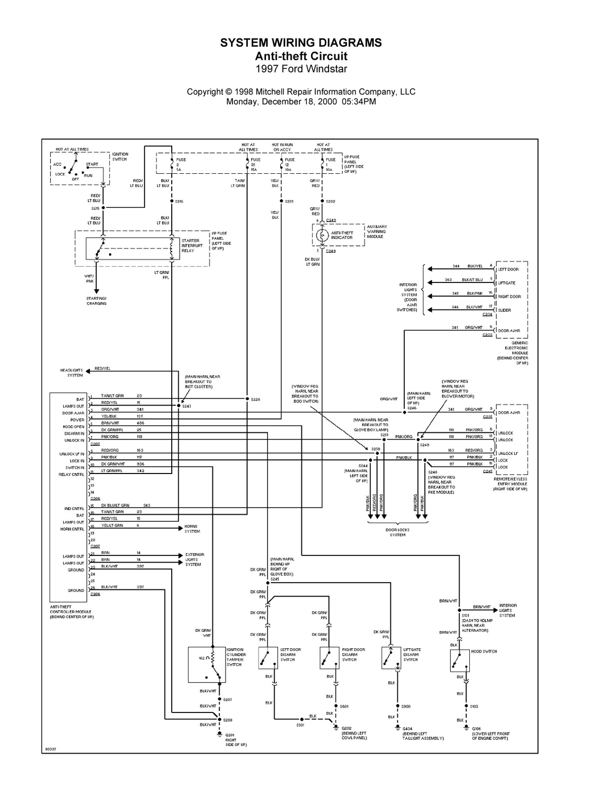 1997 windstar wiring diagram