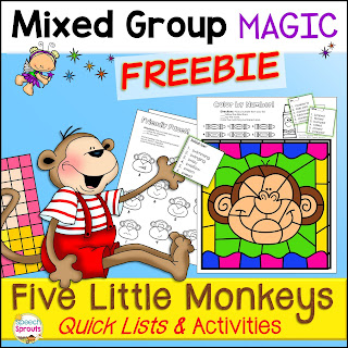 https://www.teacherspayteachers.com/Product/Five-Little-Monkeys-Speech-Therapy-Quick-List-Activities-3441153
