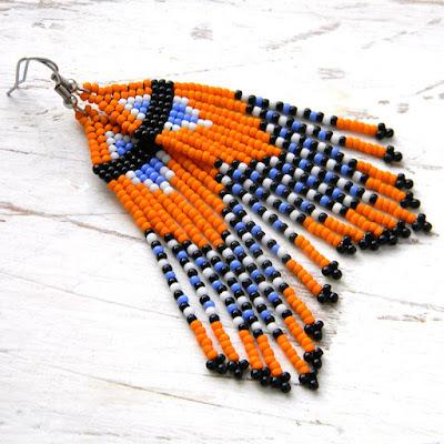 Яркие оранжевые серьги из бисера купить украшения из бисера