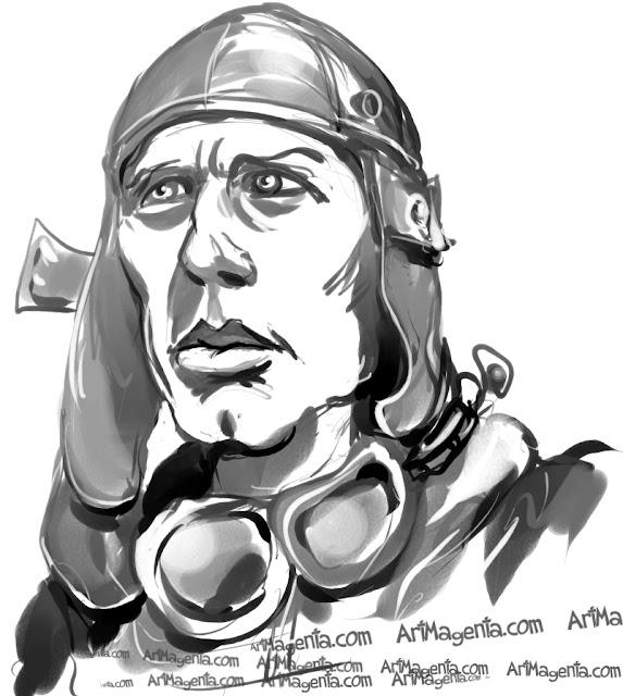 Charles Lindbergh caricature cartoon. Portrait drawing by caricaturist Artmagenta