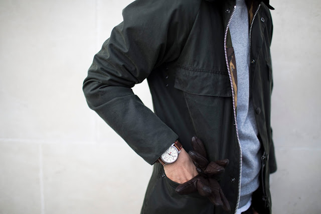 barbour wax green jacket with timex expedition watch and sunspel sweatshirt