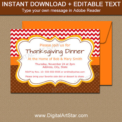 editable thanksgiving invitation download - red chevron and brown polka dots