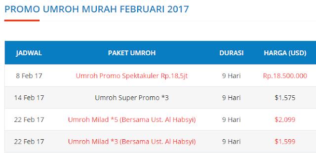 jadwal paket umroh februari 2017