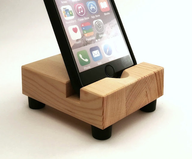 Butcher Block Style iPhone Stand in Reclaimed Wood