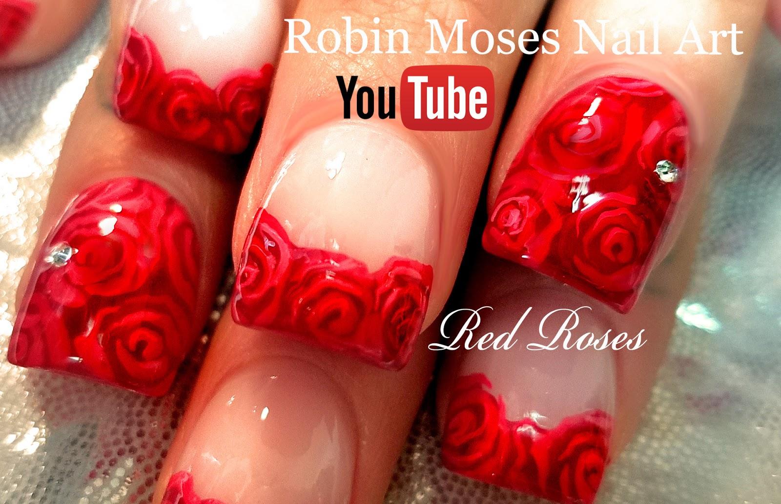 Robin Moses Nail Art: DIY Easy Red Rose Nails | Romantic ...