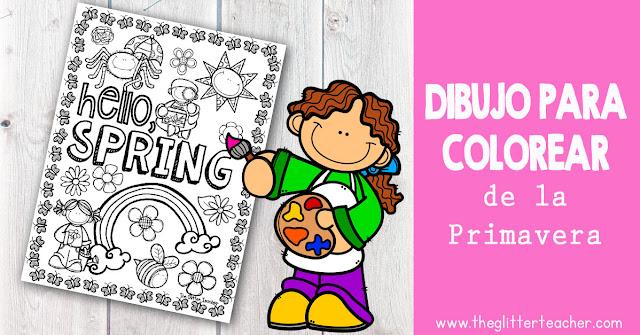 Dibujo / ficha para colorear de la primavera listo para imprimir y usar en el aula de inglés