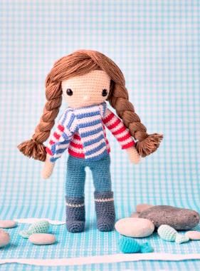 Crochet pattern amigurumi doll girl in stripey sweater and scarf