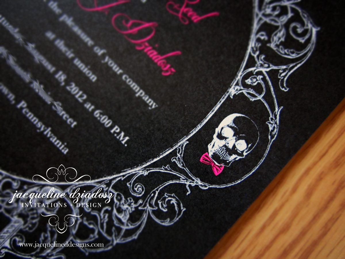 lauren ajs wedding invitations skull wedding invitations A J is also an extremely talented tattoo artist no pressure which was represented through the outline and shading effects of the skull and filigree