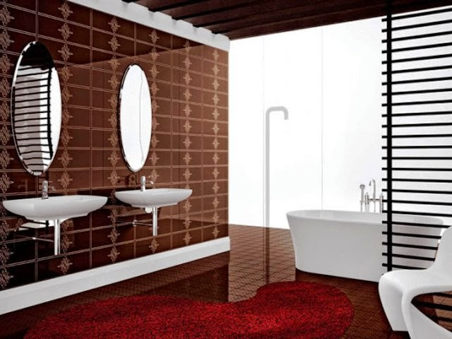 wall color for bathroom with brown tile