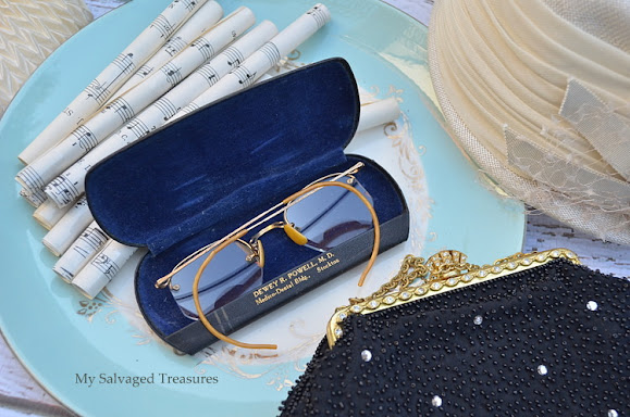 vintage evening bags and eye glasses