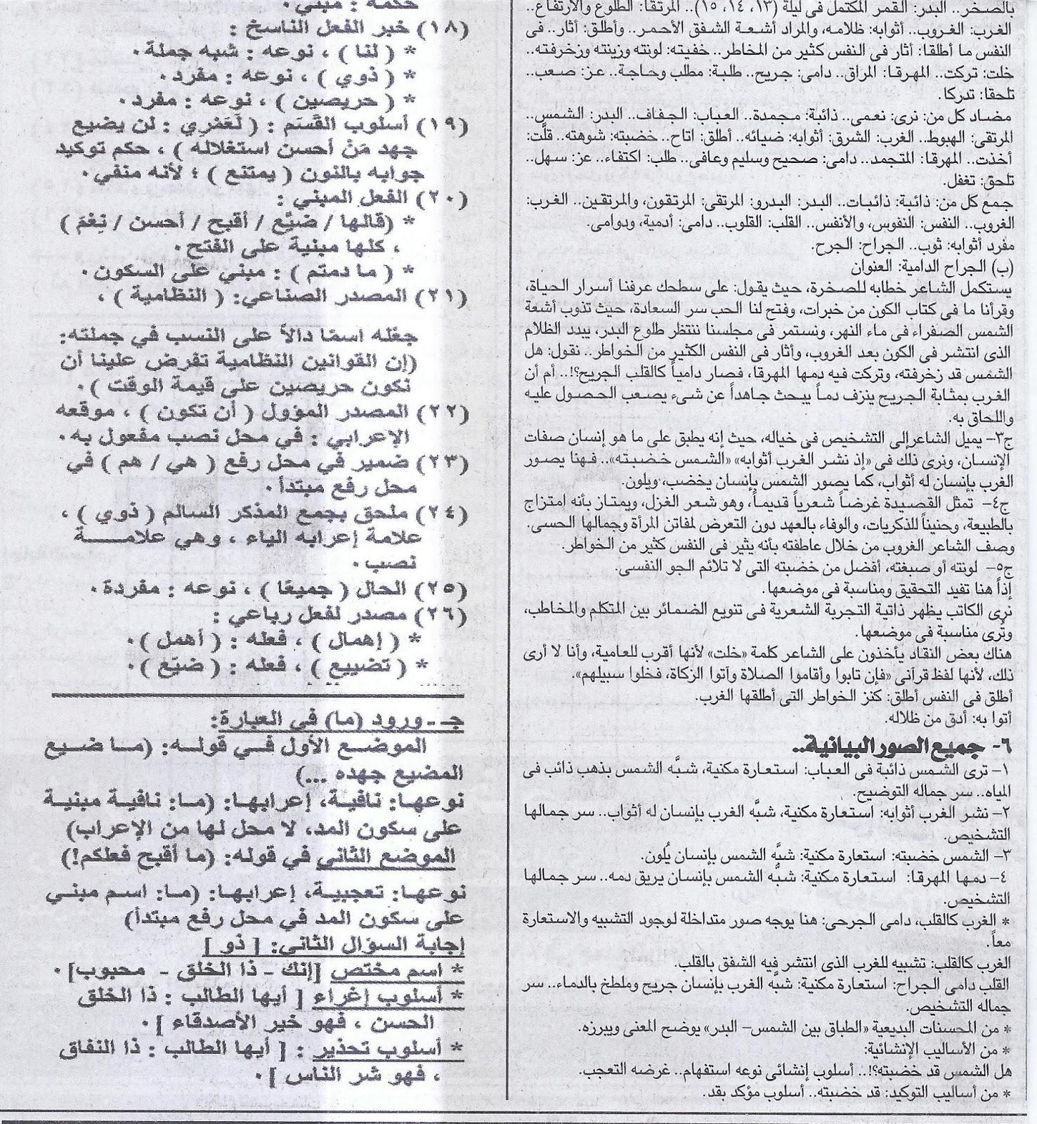 مراجعة الليلة الاخيرة قبل امتحان اللغة العربية للثانوية العامة 2016 .. توقعات ملحق الجمهورية 22