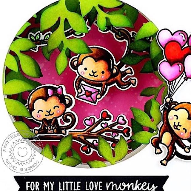 Sunny Studio Stamps: Love Monkey Botanical Backdrop Die Shadow Box Love Themed Card by Rachel Alvarado