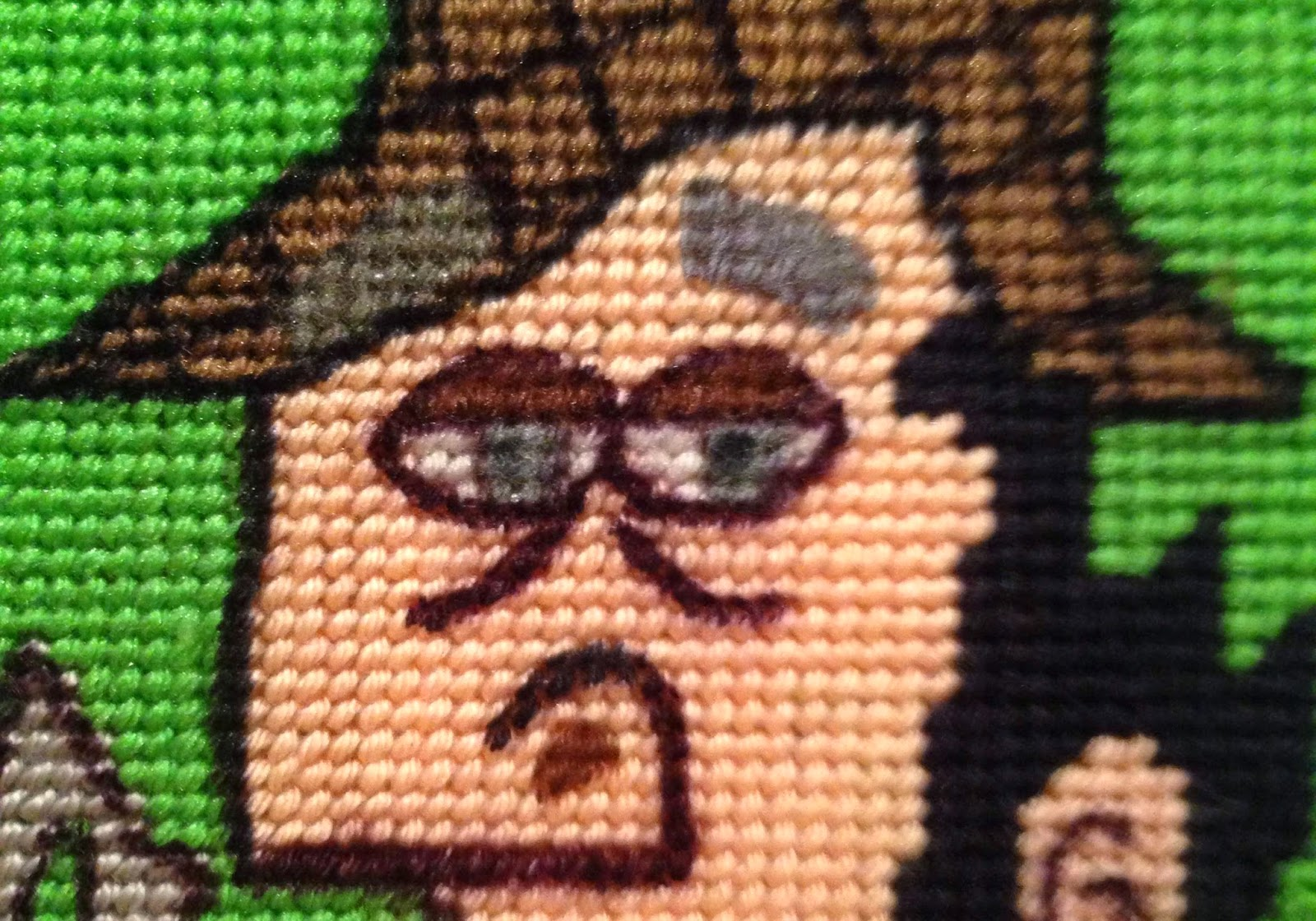 Sherlockian needlepoint closeup