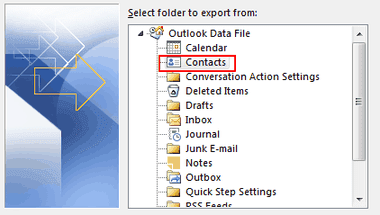 export from contacts folder