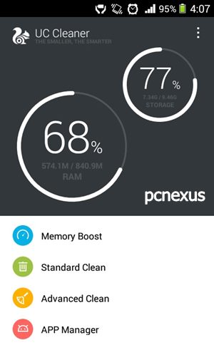 uc cleaner main screen