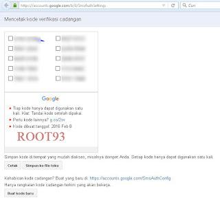 Kode verifikasi cadangan yang dibuat oleh Google