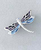 blue dragonfly pin brooch silver