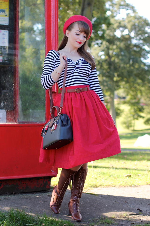 PUG stripe jailbird top, beret and red swing skirt