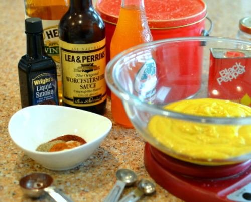 Famous Mustard Sauce prep ♥ KitchenParade.com, Carolina BBQ mustard sauce from a handful of pantry ingredients, use as an ingredient and a condiment!