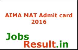 AIMA MAT Admit card 2016