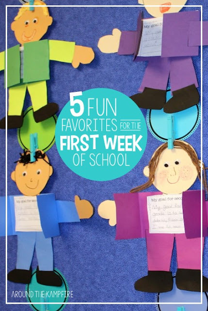 Are you looking for a fun and full first week back to school? Click to visit this post and see 5 of my favorite first week activities, games, and crafts that will have your kids laughing, learning, and getting to know all about you and each other!