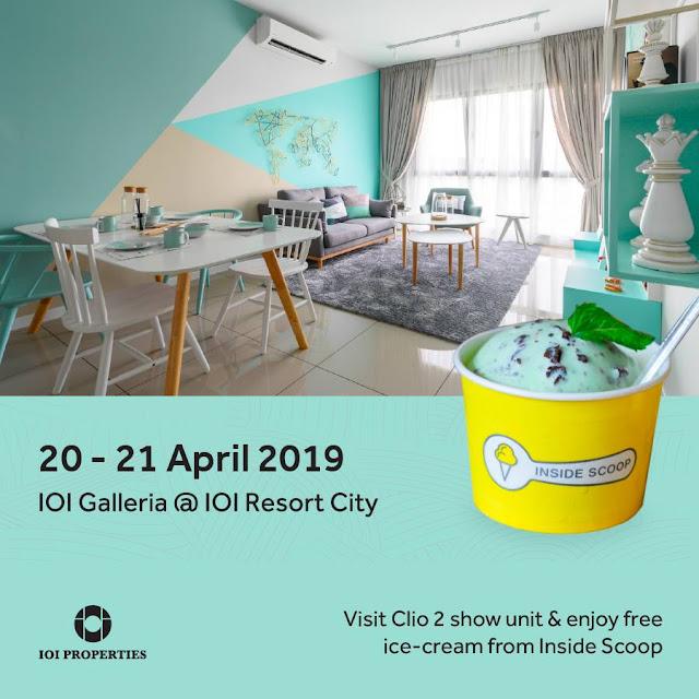 Visit CLIO 2 show unit and enjoy free inside scoop ice-cream at IOI Galleria @ IOI Resort City