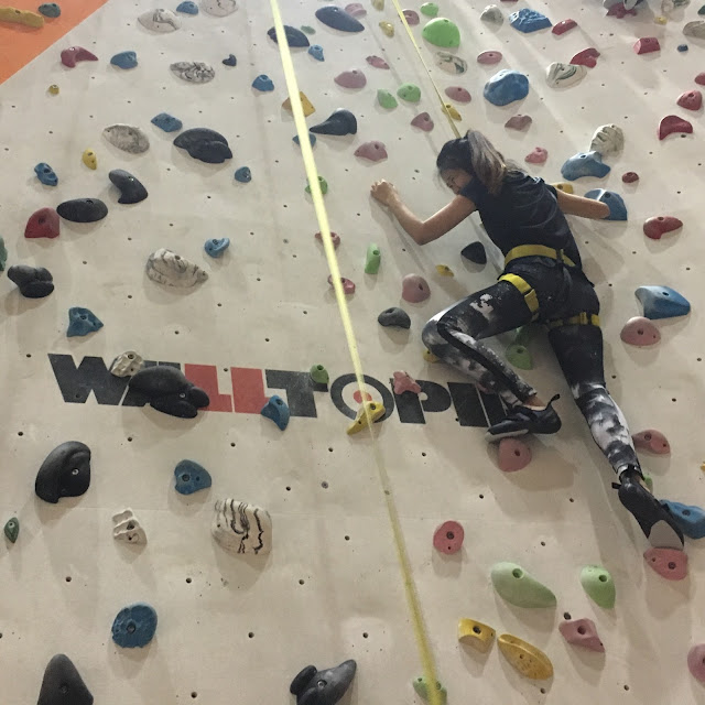 at climb central, auto belay wall