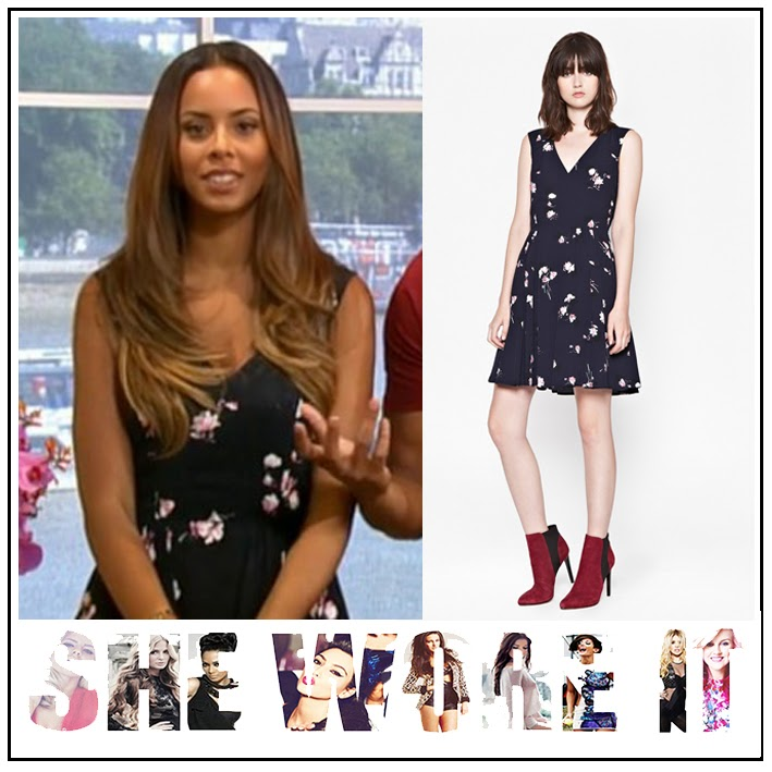 Crepe, Dress, Floral Print, French Connection, Navy Blue, Pleated, Rochelle Humes, Skater Dress, Sleeveless, The Saturdays, This Morning, V-Neck,
