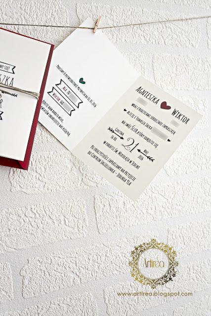 ekologiczne, biało bordowe proste, klasyczne zaproszenia ślubne artirea
