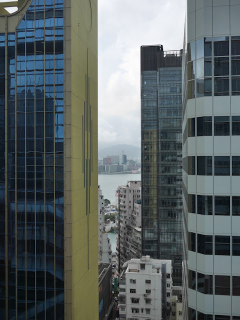 view from Hysan Place in Hong Kong looking northward across Victoria Harbour