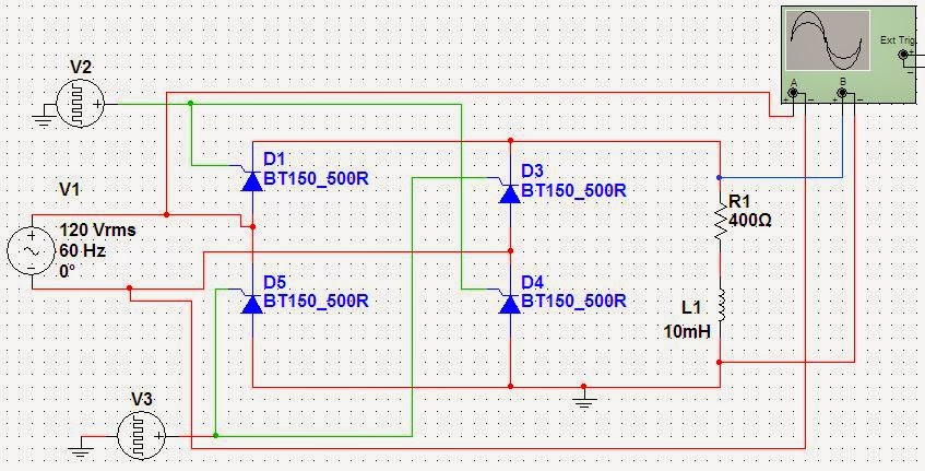1 Phase Full Wave Rectifier Circuit Using Scr With Rl Load