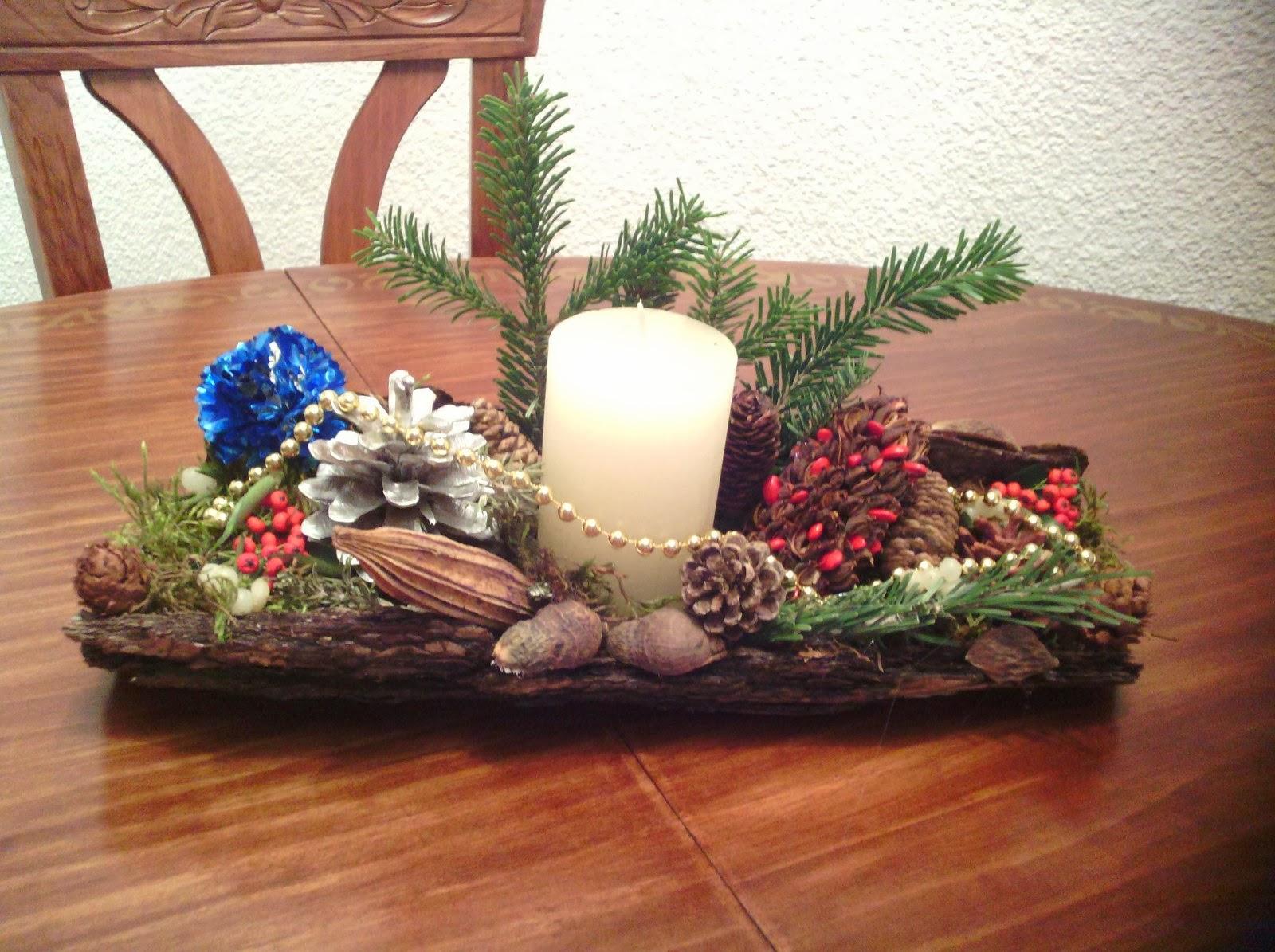 De todo un poco centros de mesa navide os con corteza de pino - Como se hacen adornos navidenos ...