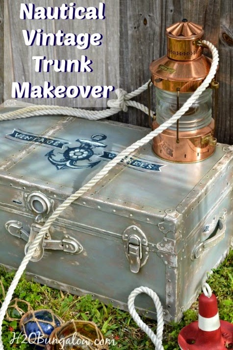 Nautical Trunk Makeover with Anchor Design