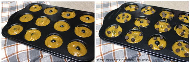mini donut pans, baked donuts, pumpkin spice donut recipe, chocolate chips
