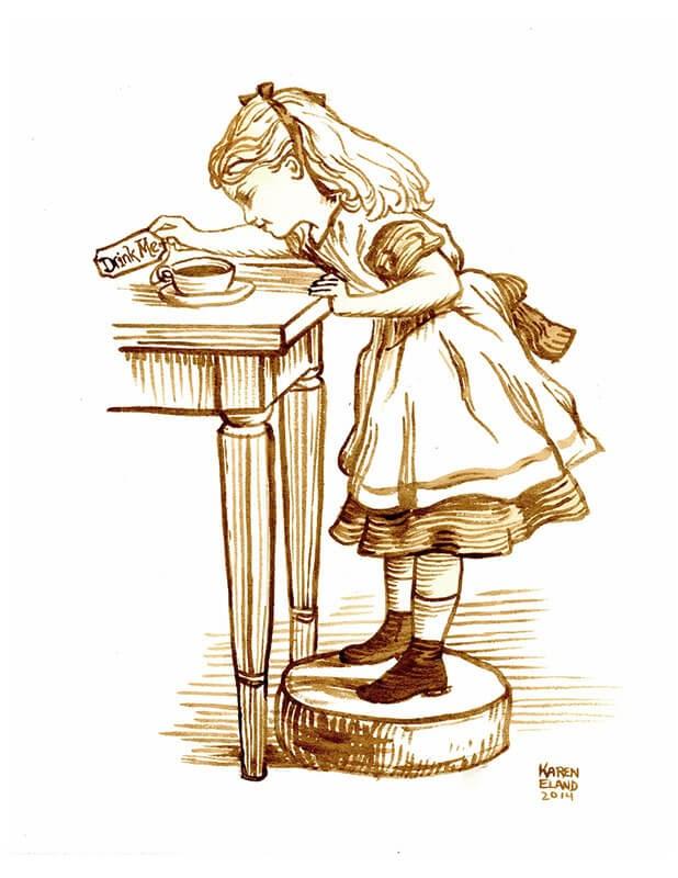 08-Alice-in-Wonderland-Karen-Eland-The-World-Through-Coffee-Paintings-www-designstack-co