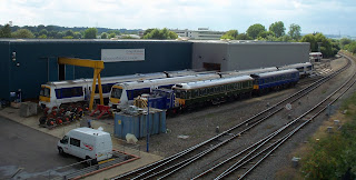 What a mixture of trains at Aylesbury Maintenance Depot back in July 2011