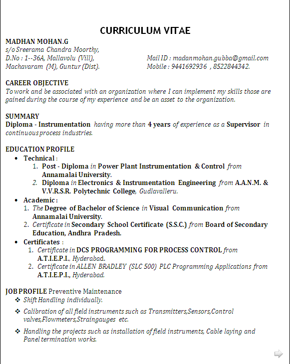 Resume blog co best resume sample for post diploma in for Sample resume for diploma in mechanical engineering