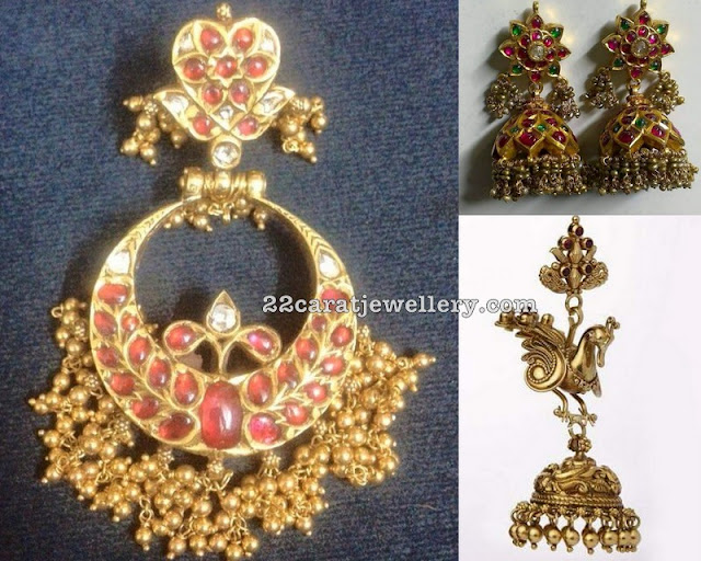 Heavy Ruby Chandbalis Antique Jhumkas