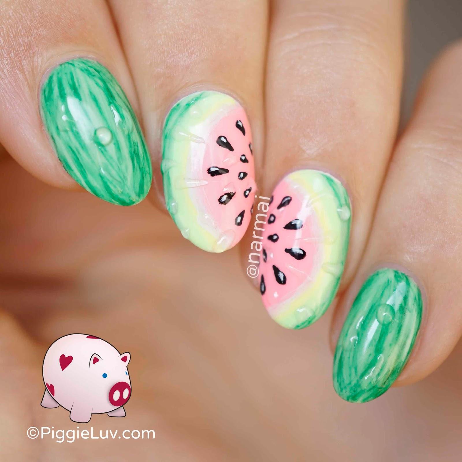 PiggieLuv: Juicy watermelon nail art