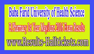 Baba Farid University of Health Science B.Pharmacy Ist Year May/June 2016 Exam Results