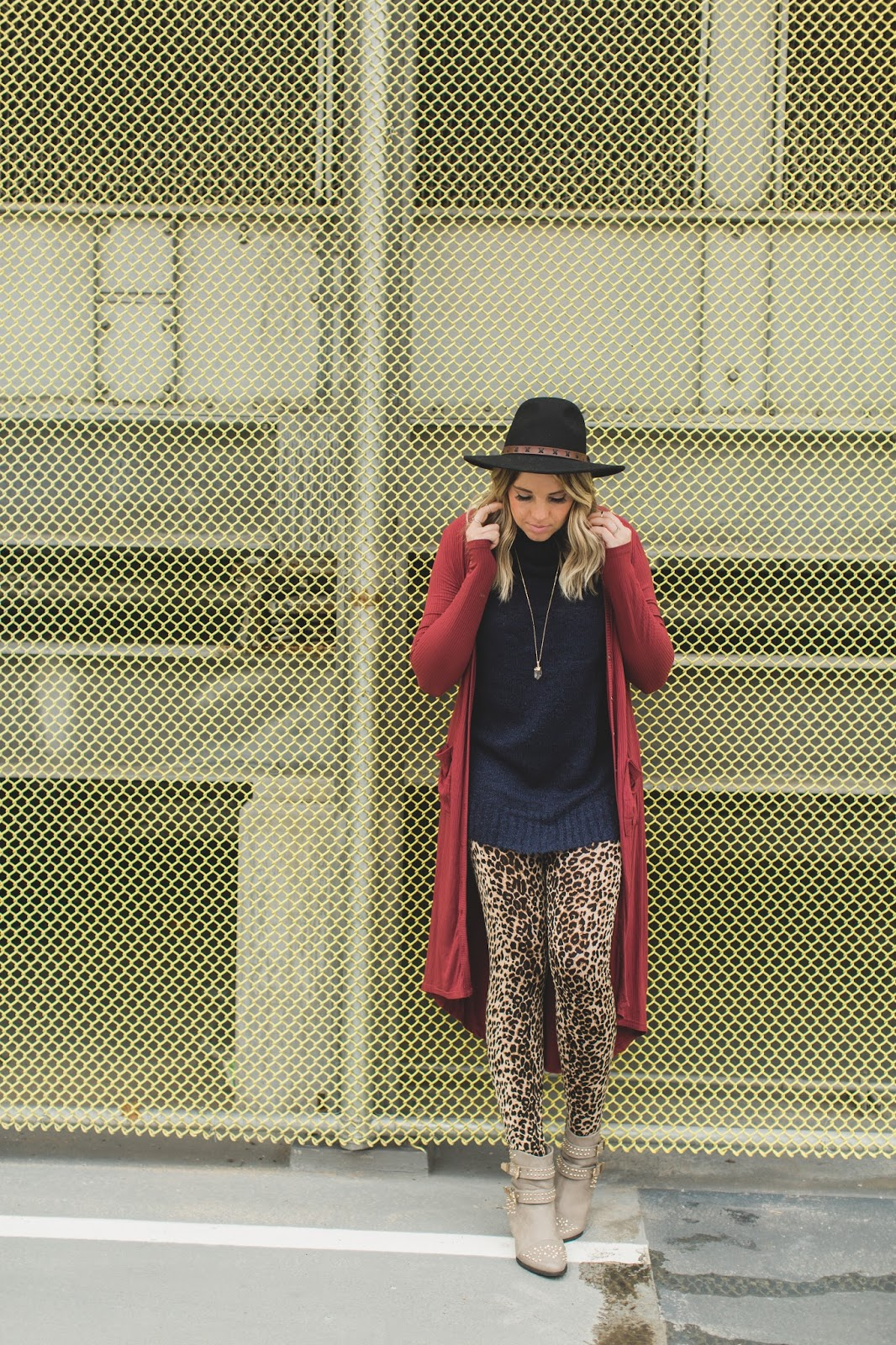 Studded Boots, Leopard Leggings, Burgundy Cardigan