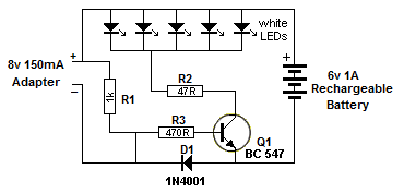 Simple Emergency Light on simple on off touch switch with 555