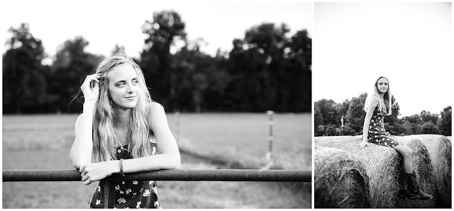 black and white senior photography at farm