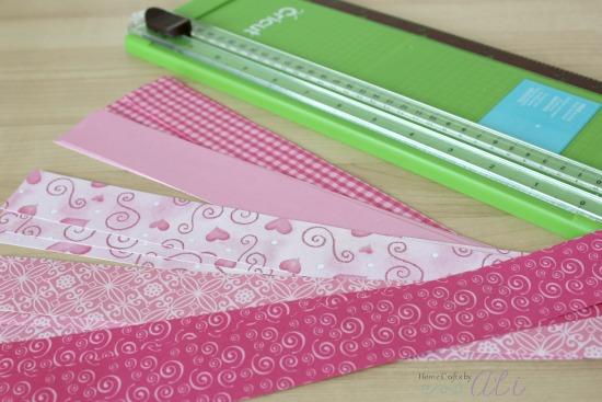 Valentine paper cut into strips
