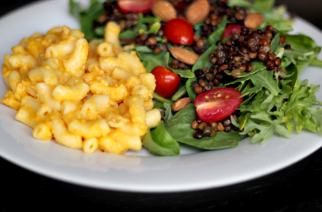 Easy Lentil & Spring Green Salad with Mac & Cheese