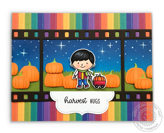 Sunny Studio Stamps Fall Flicks Filmstrip Pumpkin Patch Card featuring Fall Kiddos Stamps & Preppy Prints 6x6 Patterned Paper