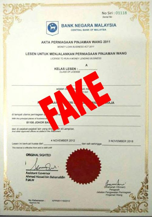 Fake Money Lending Licence issued by BNM | Lunaticg Coin