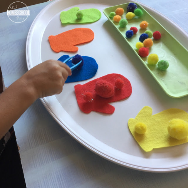Color sorting mitten activity for Small motor activities for infants